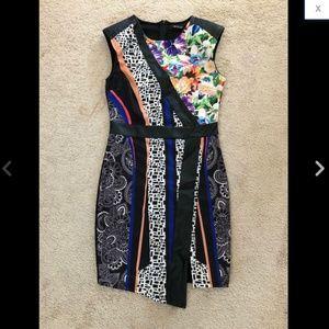 Faux Leather Trim Floral Asymmetric Slit Dress M